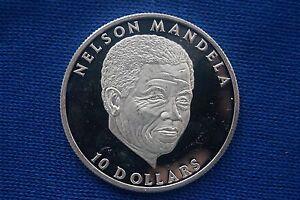 Streng Republic Of Liberia, Afrika, Nelson Mandela, 10 Dollars, Silber, Silbermünze, Pp
