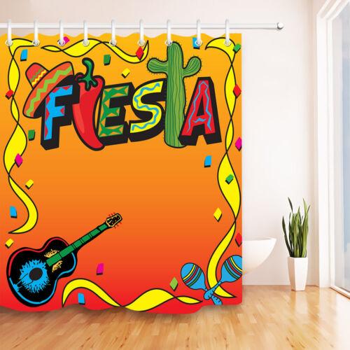 Waterproof Fabric Mexican Carnival Fiesta Shower Curtain Bathroom Hooks Mat Set