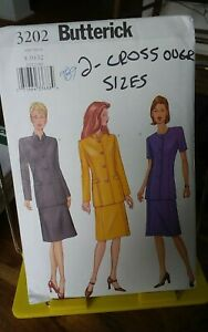 Oop-Butterick-easy-3202-misses-fitted-jacket-mandarin-collar-skirt-sz-8-12-UNCUT