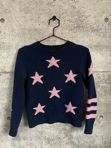 360-Cashmere-Pure-Cashmere-Sweater-Jumper-Blue-With-Pink-Stars-And-Stripes-Small