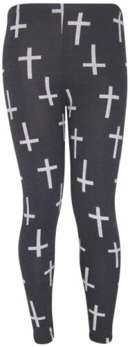 Neue Frauen Plus Size Black Cross Print Legging Harem Palazzos 40-58