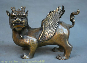 "9.6 ""vieux chinois feng shui animal bronze folk sculpture dragon fly bête statue"