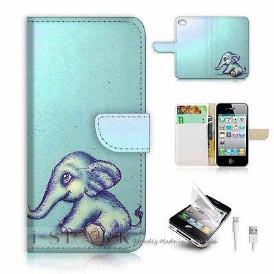 iPhone 5 5S Flip Wallet Case Cover! S8130 Elephant
