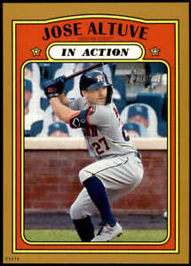 Jose Altuve 2021 Topps Heritage 5x7 Gold #44 /10 Astros In Action