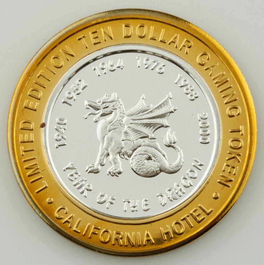 California Chaud, Dix Dollar Gaming Token .999 Argent Fin Pièce de Monnaie