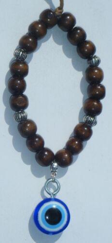 In Car Wood Wooden Beads /& Turkish Evil Eye Charm Pendant ayn al-ḥasūd Type1