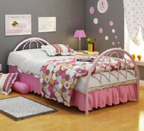 Twin Size PINK Platform Metal Bed Frame Head /& Footboard NO BOX SPRING NEEDED