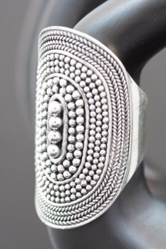 Sterling Silver.925 Bali Handmade Large/Long Oval Designed Ring, Many Sizes.