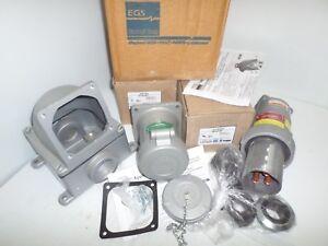 APPLETON-ACP15034CD-amp-ADR15034-150-Amp-PLUG-RECEPTACLE-amp-BACK-BOX-150A-600V-3W-4P