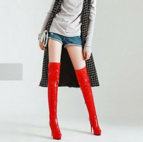Overknee Damenschuhe Spitz Stiletto Reißverschluß Platform Stiefel Glitzer Trend