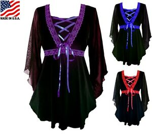 RED-BLUE-PURPLE-PLUS-SIZE-LONG-SLEEVE-GOTHIC-STYLE-CORSET-BLOUSE-1X