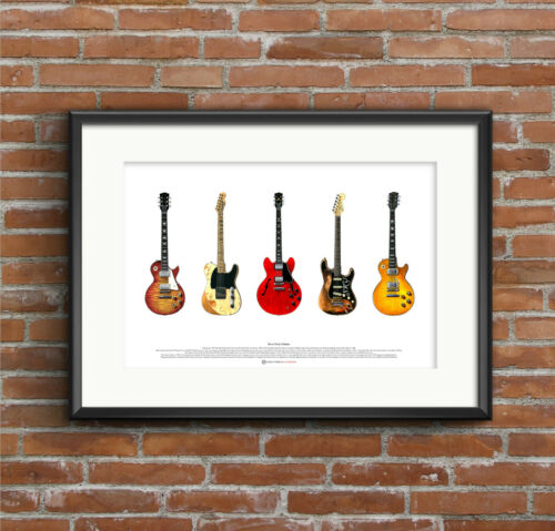 ART POSTER A2 size Rock Guitars Famous Blues