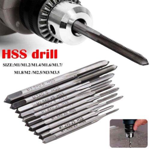 10pcs Mini Hand Screw Thread Straight Metric Plug Tap Set HSS Drill M1-M3.5  UK