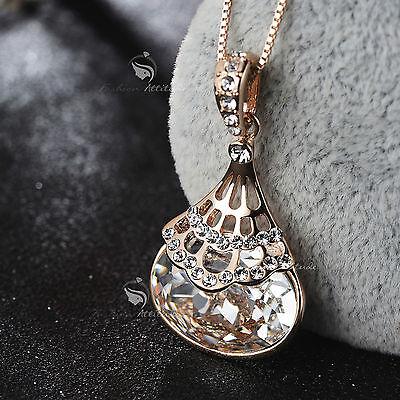 18k rose gold gp made with SWAROVSKI crystal pendant handbag purse necklace