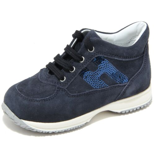 88606 sneaker blu HOGAN INTERACTIVE H PAILLETTES scarpa bimba shoes kids