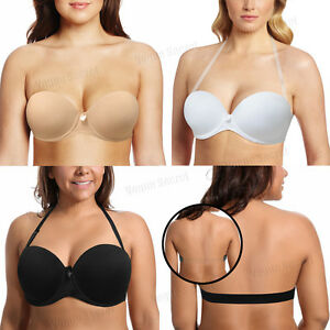 31cc87ded644e Image is loading A-B-C-D-E-F-Cup-Push-Up-Strapless-Bra-Padded-Transparent-