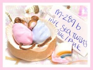 Wee-Forest-Folk-M-289b-Wee-Sea-Twins-Baby-Pink-Blue-Mouse-Shell-Retired-WFF