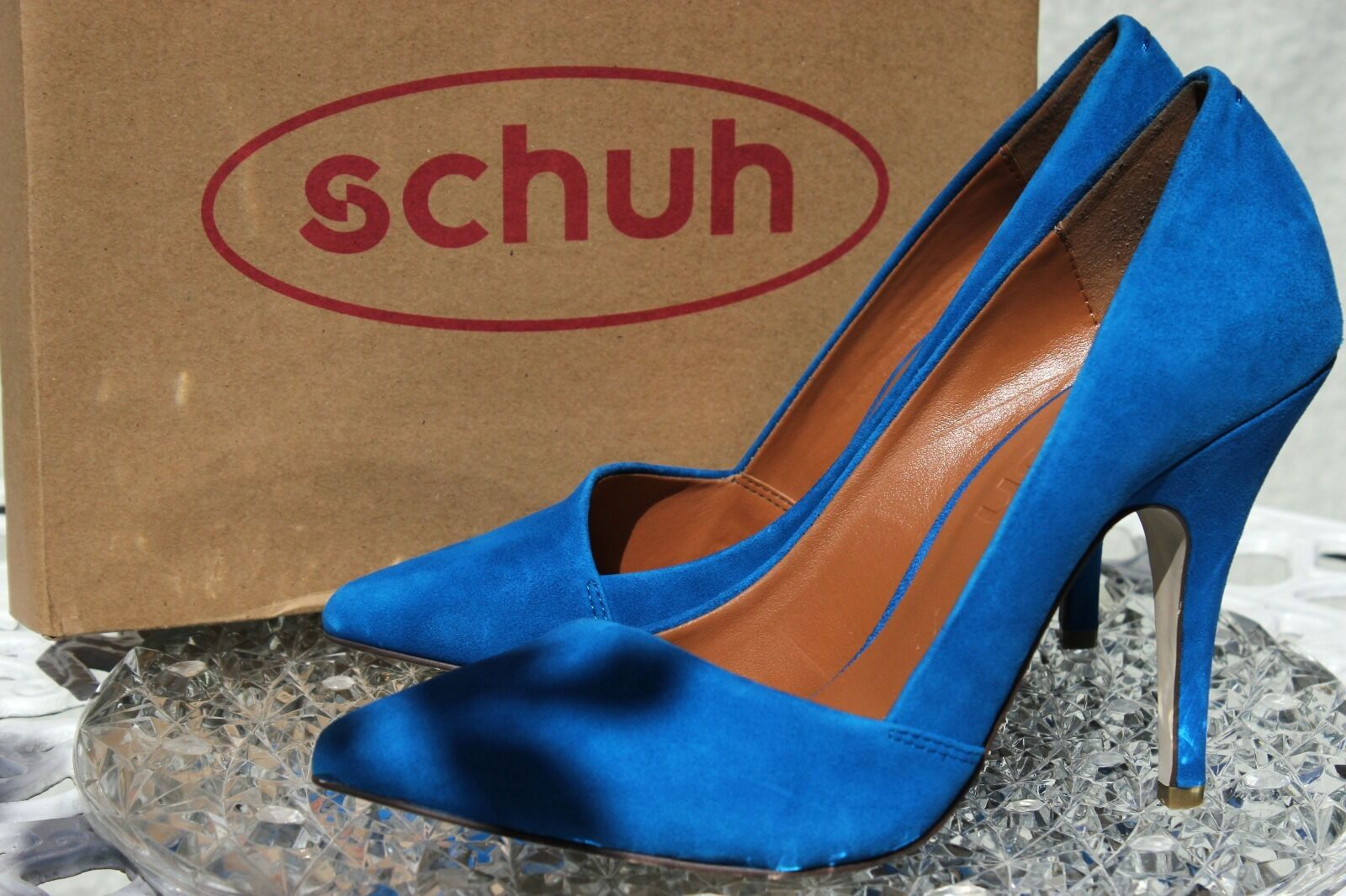 NEU SCHUH Pointed Court Blau Stiletto High Heels Pointed Toe UK 5.5 EU 39 Heels