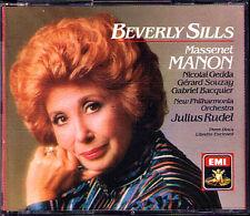 MASSENET MANON Beverly Sills Nicolai Gedda Gerard Souzay Bacquier RUDEL EMI 3CD