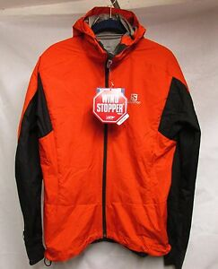 NEW SALOMON MENS EQUIPE WS RUNNING HOODIE JACKET LAVA ORANGE SIZE MEDIUM - NWT