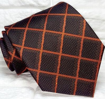 Caritatevole Cravatta Checks Uomo 100% Seta Made In Italy Handmade Plaid Marrone Arancione Facile Da Lubrificare