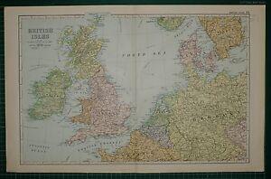 1905-ANTIQUE-MAP-BRITISH-ISLES-ENGLAND-IRELAND-SCOTLAND-CONNECTIONS-HOLLAND