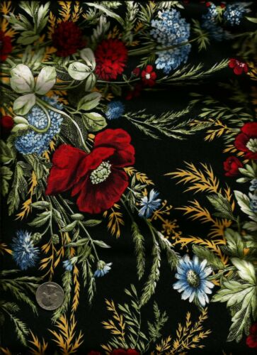 "/""Countryside Inn/"" Print blue red green on black Fabric Celebrating Style for RJR"
