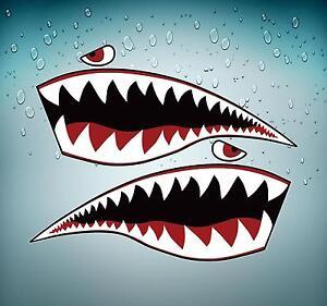 Autocollant sticker voiture moto tuning dent requin avion flying shark XL tiger