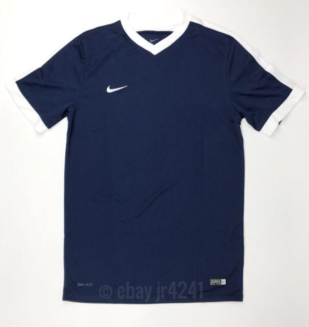 New Nike Men's M Dri-Fit Striker IV Soccer Futbol Jersey Navy White Shirt $30