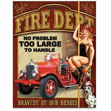 Fire Dept No Problem Firefigher Retro Pin Up Girl Vintage Style Metal Tin Sign