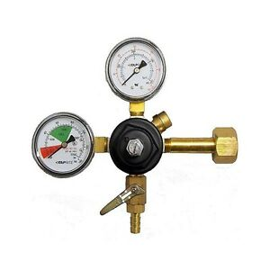 """Taprite CO2 Primary Regulator, Dual Gauge with 5/16"""" Hose Barb - MADE IN USA"""
