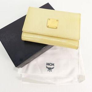 Details zu MCM Damen Geldbörse Beige Lack Wallet Portemonnaie Accessoires Leder Leather