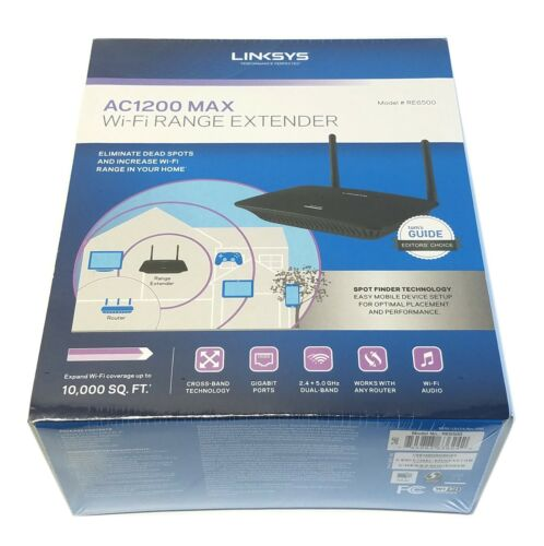 Linksys AC1200 Dual-Band Wireless Range Extender w// 4 x Ethernet portsRE6500