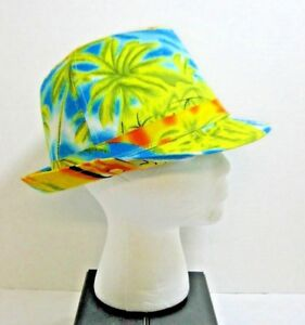 Tropical Fedora Trilby Beach Hat Palm Trees Bright Colors Tourist ... 95208393730