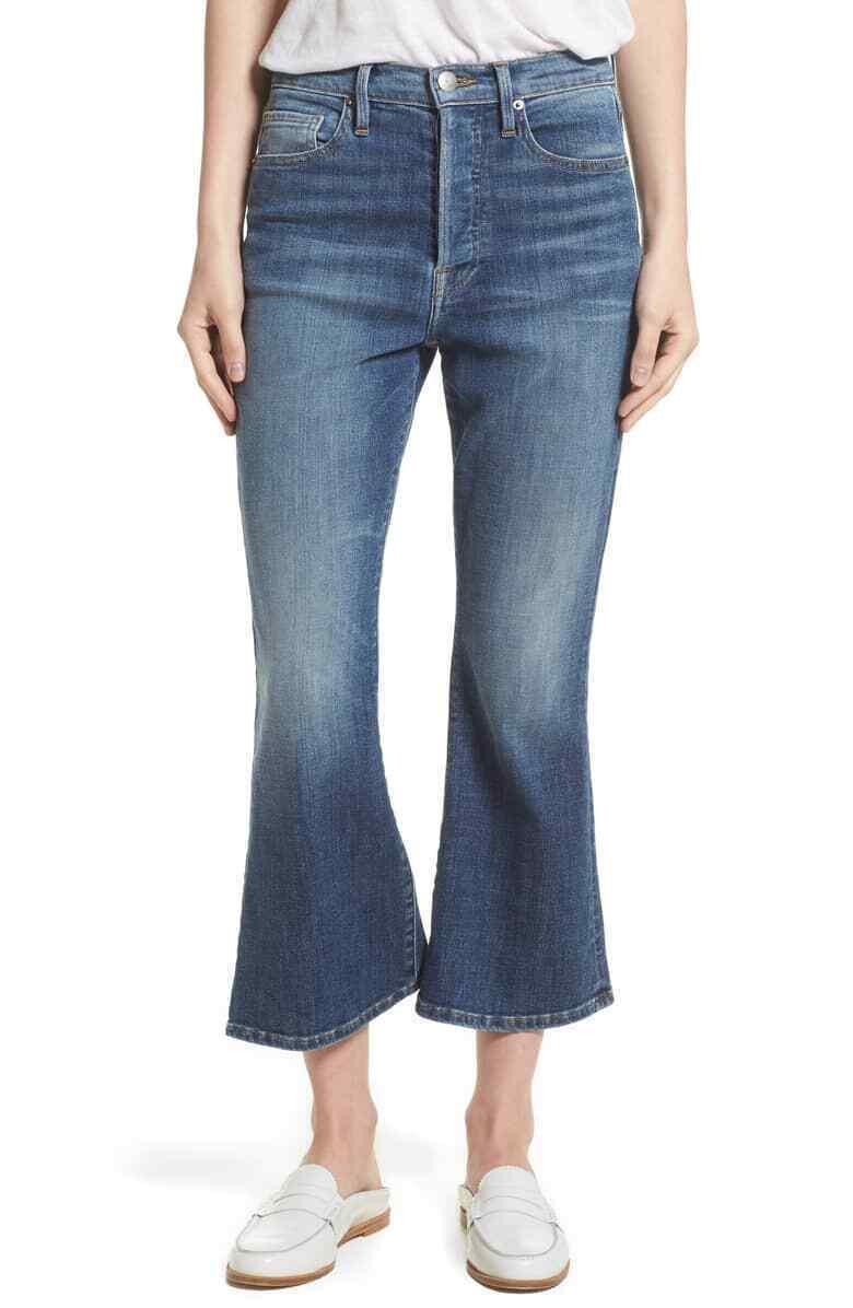 FRAME le Crop flare taille haute jeans sz 31 10