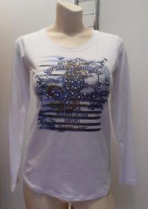 Be-Happy-Italia-elegantes-Shirt-langarm-Baumwolle-Weiss-Print-Strass-Gr-M-38