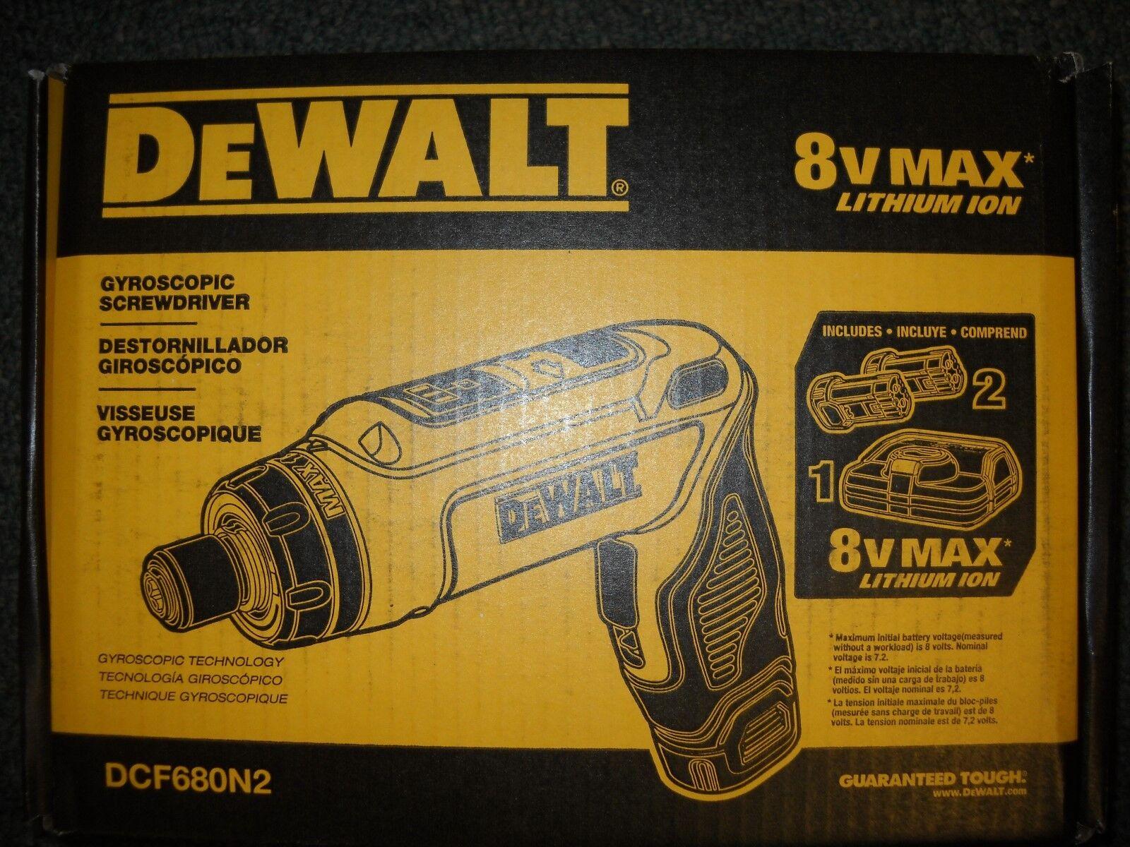 DEWALT DCF680N2 8V MAX Gyroscopic Screwdriver w  2 Li-Ion Batteries New