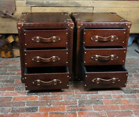 Finest Leather English Handmade Bedside Draw Trunks Chestnut Brown