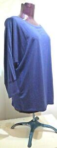 AnyBody-Loungewear-Women-039-s-Size-1X-Indigo-Blue-Dolman-Sleeve-Sweatshirt-Top