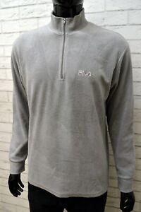 Maglione-in-Pile-Grigio-FILA-Uomo-Taglia-50-Pullover-Felpa-Sweater-Man-Cardigan