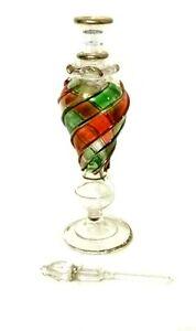 Vintage Hand blown Glass Dauber Perfume Bottle Gold Tri