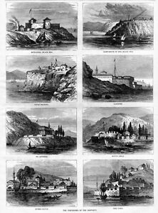 FORTRESSES OF THE BOSPORUS DELI TABIA RUMELI KAVAK HARPER'S WEEKLY ENGRAVING