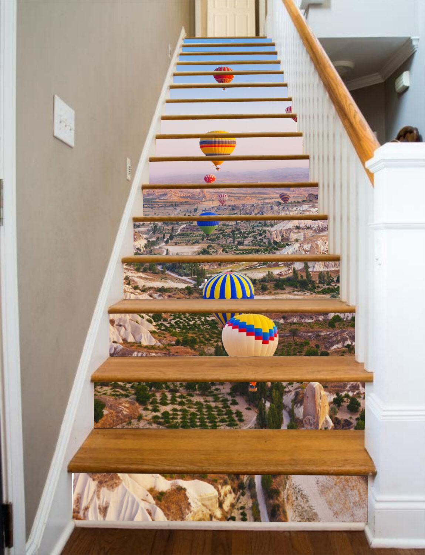 3D Hot Air Balloon 535 Risers Decoration Photo Mural Vinyl Decal Wallpaper CA