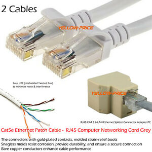 2pc 2m network cat5e rj45 patch cable ethernet lan cat 5 6. Black Bedroom Furniture Sets. Home Design Ideas