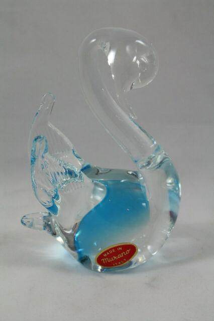 Murano Glass Swan Light Blue And Clear, Murano Glass Swan