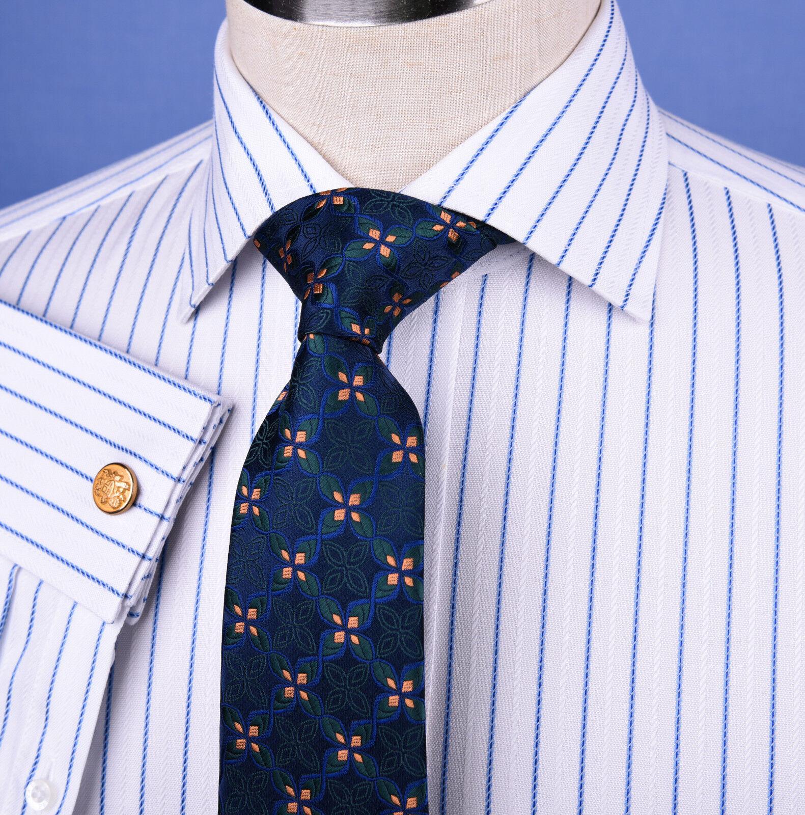 Light bluee Striped Dress Shirt Formal Business Designer Stripes Stylish Fashion