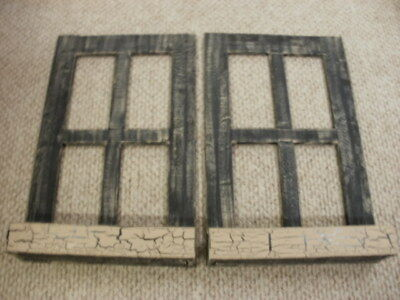 Lot of 2 Black Weathered Look Window Pane With Box Primitive Wood