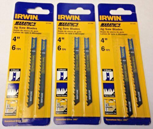 "Irwin Marathon 3071406 4/"" x 6TPI U-Shank Wood Cutting Jigsaw Blades 3 Packs of 2"