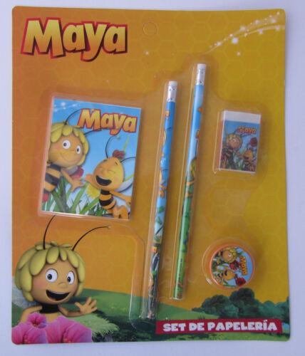 Biene Maja OVP 5er Schreibset Bleistift,Radiergummi,Anspitzer,Block Neu