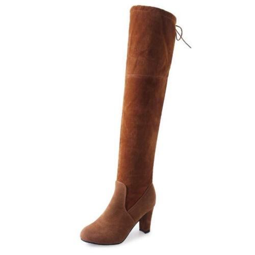 Damen Overknee Stiefel Stiefeletten Hoher Absatz Blockabsatz Lange Boots Pump 43